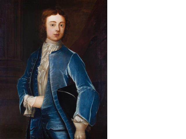 J. Smith, British 18th Century Portrait of a boy in blue costume