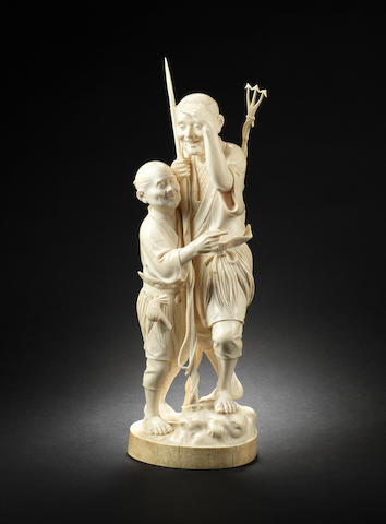 A tall ivory group of two fishermen By Kyosai, Meiji Period