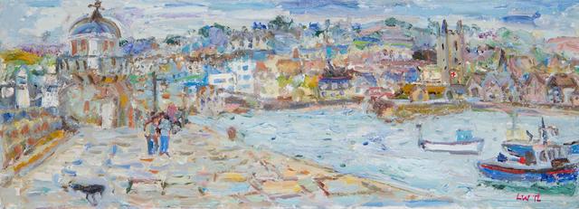 Linda Weir (British, born 1951) High Tide St Ives Harbour