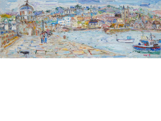 Linda Weir (British, born 1951) High Tide St Ives Harbour