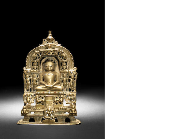 A Jain silver inlaid brass shrine