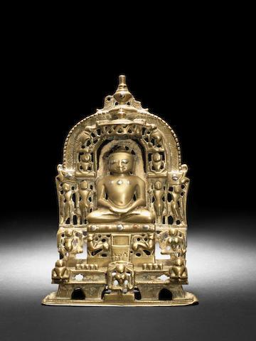 A Jain silver inlaid brass shrine