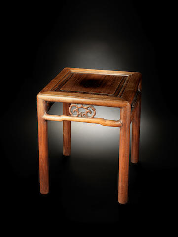 A Chinese huanghuali stool 17th/18th century