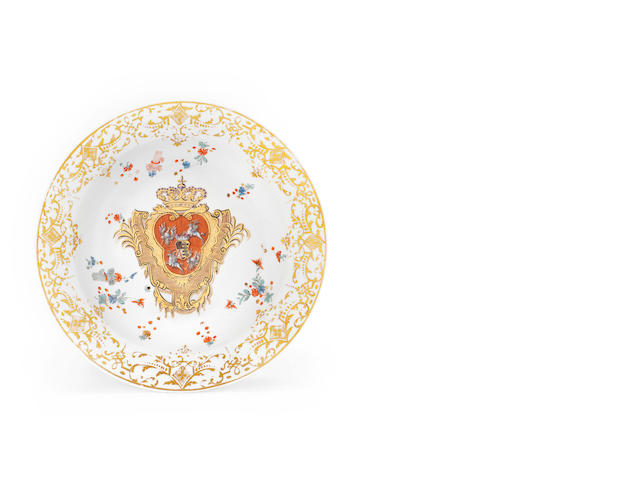 A Meissen armorial dish from the 'Coronation Service', circa 1733-34