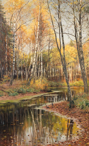 Peder Mork Mönsted (Danish, 1859-1941) Autumn in the birchwood
