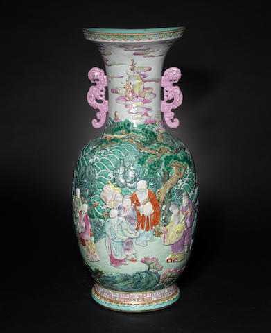 A very large famille rose, baluster vase 19th century