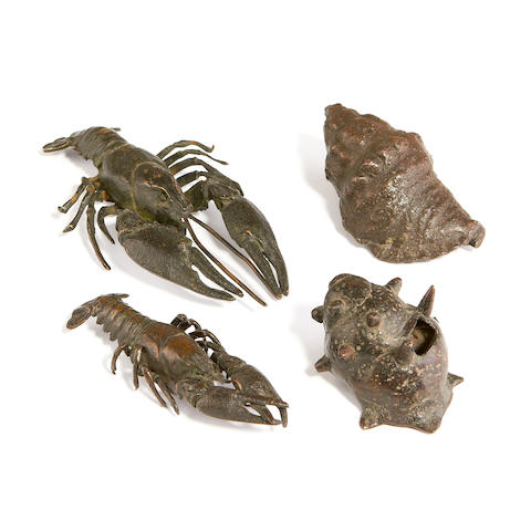 Four life-cast bronze models of crustaceans two probably 16th century Italian
