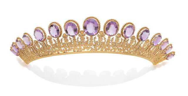 An amethyst tiara