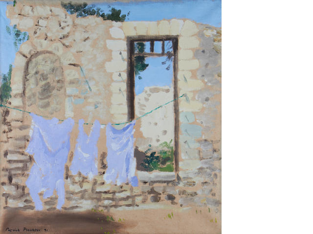 Patrick Proctor (British, 1936-2003) Ruins with washing