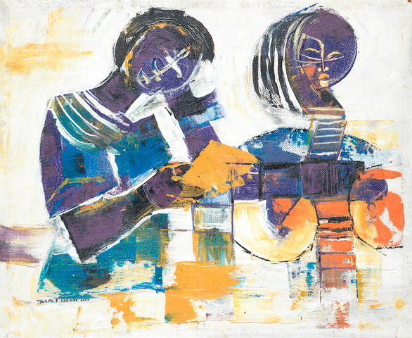 Kizito Fred Kakinda (Ugandan, born 1965) Abstract with two women in purple