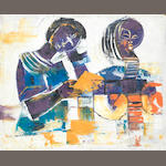 Kizito Fred Kakinda (Ugandan) Abstract with two women in purple