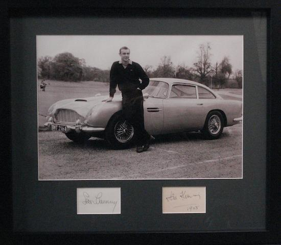 A James Bond with the 'Goldfinger' Aston Martin DB5 photograph with Sean Connery and Ian Fleming signatures,