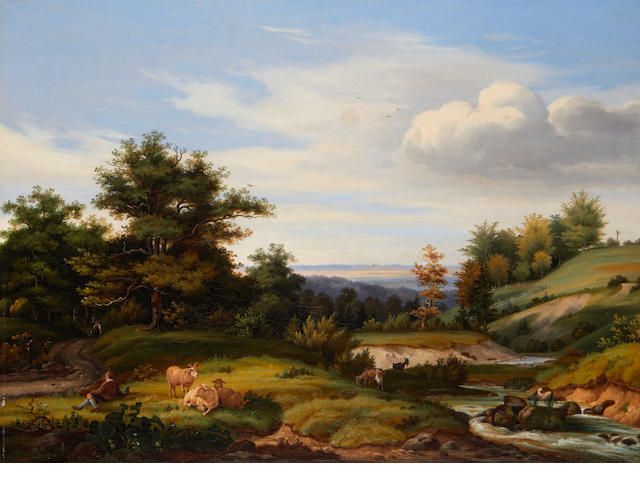 German School, 19th Century Shepherd and his flock