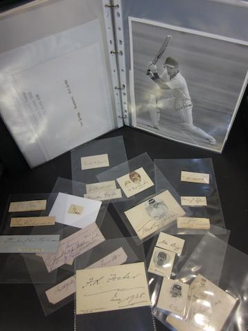 A large collection of individual cricketers signatures