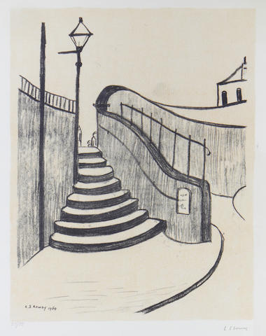 Laurence Stephen Lowry R.A. (British, 1887-1976) Old Steps, Stockport Lithograph in cream and black, 1969, on wove, signed in pencil, numbered 57/75, published by Ganymed Originals, London, with wide margins, 620 x 480mm (24 3/8 x 18 7/8in)(I) unframed