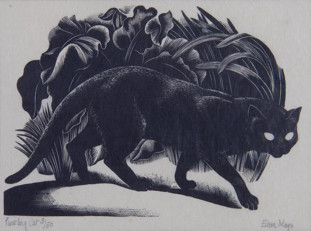 Dame Eileen Mayo (British, 1906-1994) Prowling Cat Woodcut, c.1932, on tissue thin Japan, signed, titled and numbered 3/50 in pencil, with margins, 120 x 162mm (4 3/4 x 6 3/8in) (I)