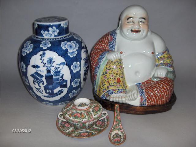 A 19th century Chinese blue and white ginger jar and cover 25cm high, together with a 20th century figure of a Buddah,and an egg shell famille rose tea service for six place settings. A lot.