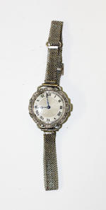A 19th century ring and pair of earrings and an early 20th century cocktail watch (3)