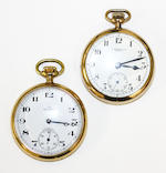 Two plated open face pocket watches and a 9ct gold Albert chain
