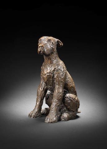 Dame Elisabeth Frink R.A. (British, 1930-1993) Dog 29.2 cm. (11 1/2 in.) high