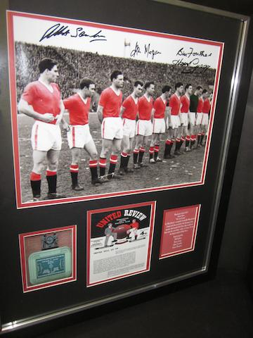 A Busby Babes hand signed montage