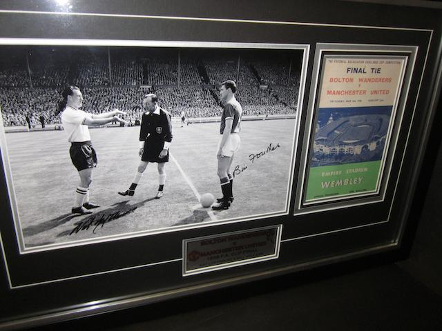 1958 F.A. Cup final Lofthouse/Foulkes hand signed montage