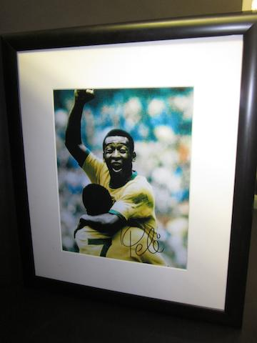 A Pele hand signed picture