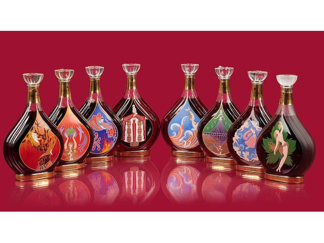 Courvoisier Erté Collection (no. 1- 8)   No. 1 Vigne  No. 2 Vendanges  No. 3 Distillation  No. 4 Vieilissement  No. 5 Dégustation  No. 6 L'Esprit du Cognac  No. 7 La Part des Anges  No. 8 inédit