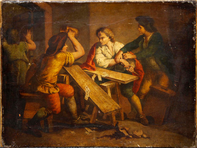 Dutch School, 18th Century Figures brawling in a tavern