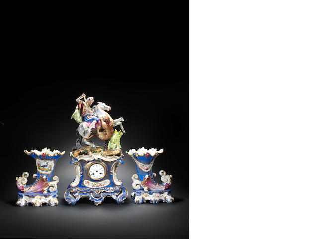 A Jacob Petit figural porcelain Clock  France, 19th Century(4)
