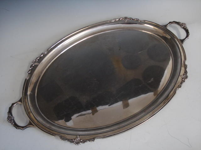 A twin handled tray by Messrs Hutton Sheffield 1959