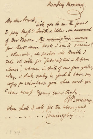"BROWNING (ROBERT) Autograph letter signed (""R Browning""), to ""My dear Powell"", [?May 1844]"