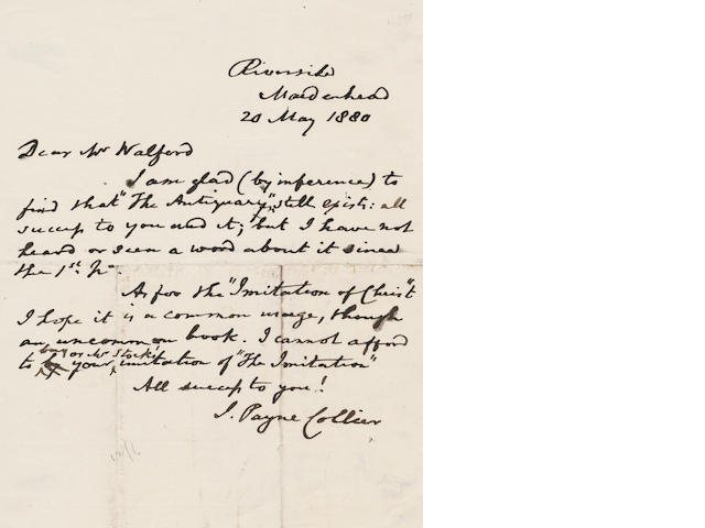 COLLIER (JOHN PAYNE) Collection of twelve autograph letters signed, to various correspondents, including Dickens's friend John Forster, 1835-1880