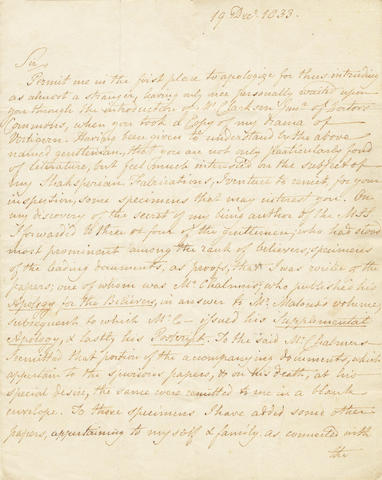 """IRELAND (WILLIAM HENRY) Autograph letter signed (""""WH Ireland""""), to Mr Beadnall, 1833"""