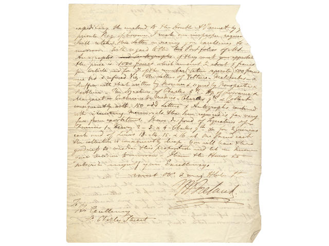 IRELAND (WILLIAM HENRY) Collection of nine autograph letters and receipts signed, [c.1809-1823]