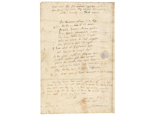 "PSALMANAZAR (GEORGE) Autograph letter signed (""G Psalmanaazaar""), to the Rev Samuel Reynolds, 1706"