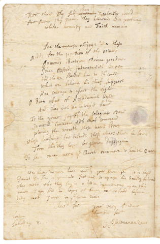 "PSALMANAZAR (GEORGE) Autograph letter signed (""G Psalmanaazaar""), to the Rev Samuel Reynolds, 1706"
