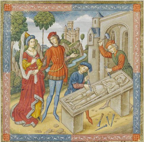 SPANISH FORGER. The grave slab of a Knight in armour, being cut by two Masons, elegantly dressed couple as onlookers, castle background, illuminated manuscript leaf on vellum, [c.1900]