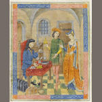 SPANISH FORGER. Pawnbroker, with a young couple buying or selling a gold cup, illuminated manuscript leaf on vellum, [c.1910]