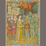 SPANISH FORGER. Depature for the Crusades, a saintly Queen blessing a lance from a mailed Knight, Ladies and Knights in attendance, castle background, illuminated manuscript leaf on vellum, [c.1900]