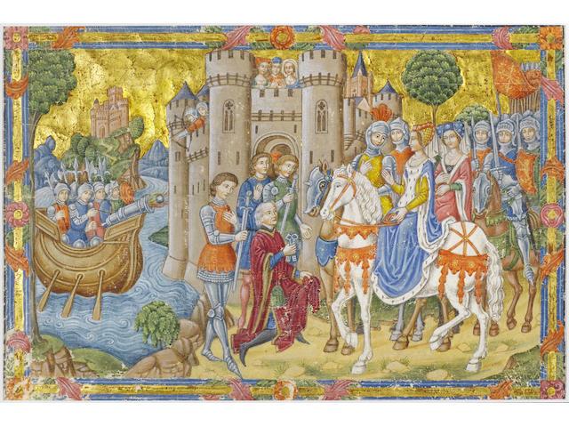 SPANISH FORGER. Battle scene, a Lady on horseback accepting Castle keys, Archers on walls dispute with boat firing cannon, illuminated manuscript leaf on vellum, [c.1910]