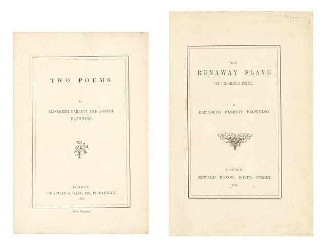 BROWNING (ELIZABETH BARRETT) The Runaway Slave at Pilgrim's Point, [c.1885]; and another