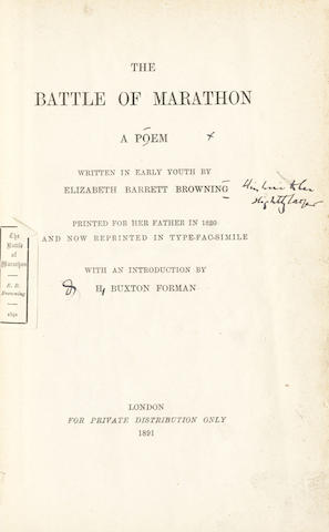 BROWNING (ELIZABETH BARRETT) The Battle of Marathon... reprinted in type-fac-simile, with an Introduction by H. Buxton Forman, editor's proof,