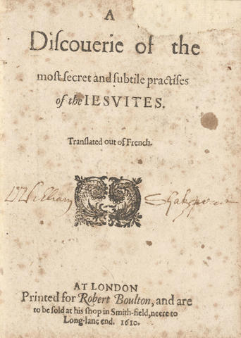 IRELAND (WILLIAM HENRY) [CAMILTON (JOHN)] A Discoverie of the Most Secret and Subtile Practises of the Jesuites. Translated out of French [sic], 1610