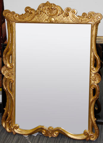 A pair of George II style gilt framed wall mirrors