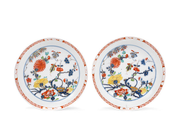 A pair of Meissen circular dishes, circa 1735-40