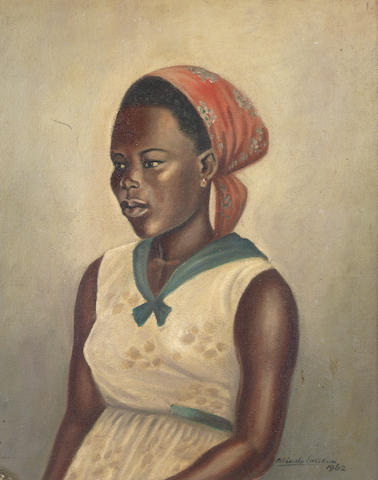 Akinola Lasekan (Nigerian, 1921-1974) Portrait of a young girl