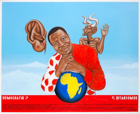 Chéri Samba (Dem. Republic of the Congo, born 1956) 'Democratie?' unframed