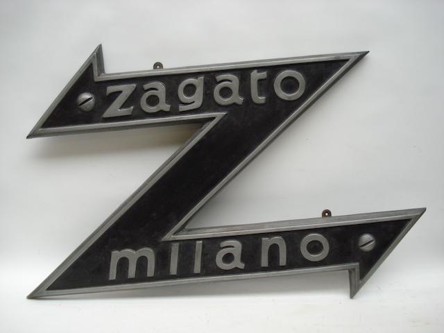 A Zagato Milano garage display emblem,