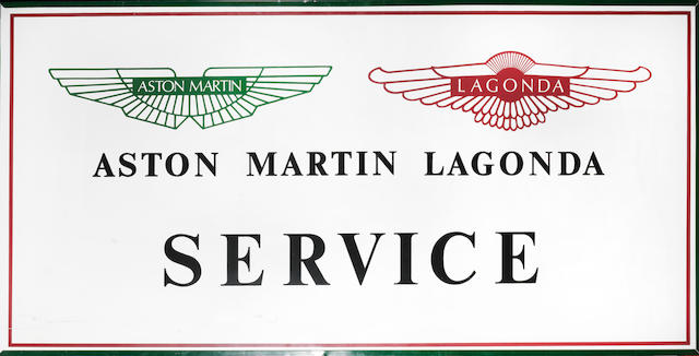 An 'Aston Martin Lagonda' sign,